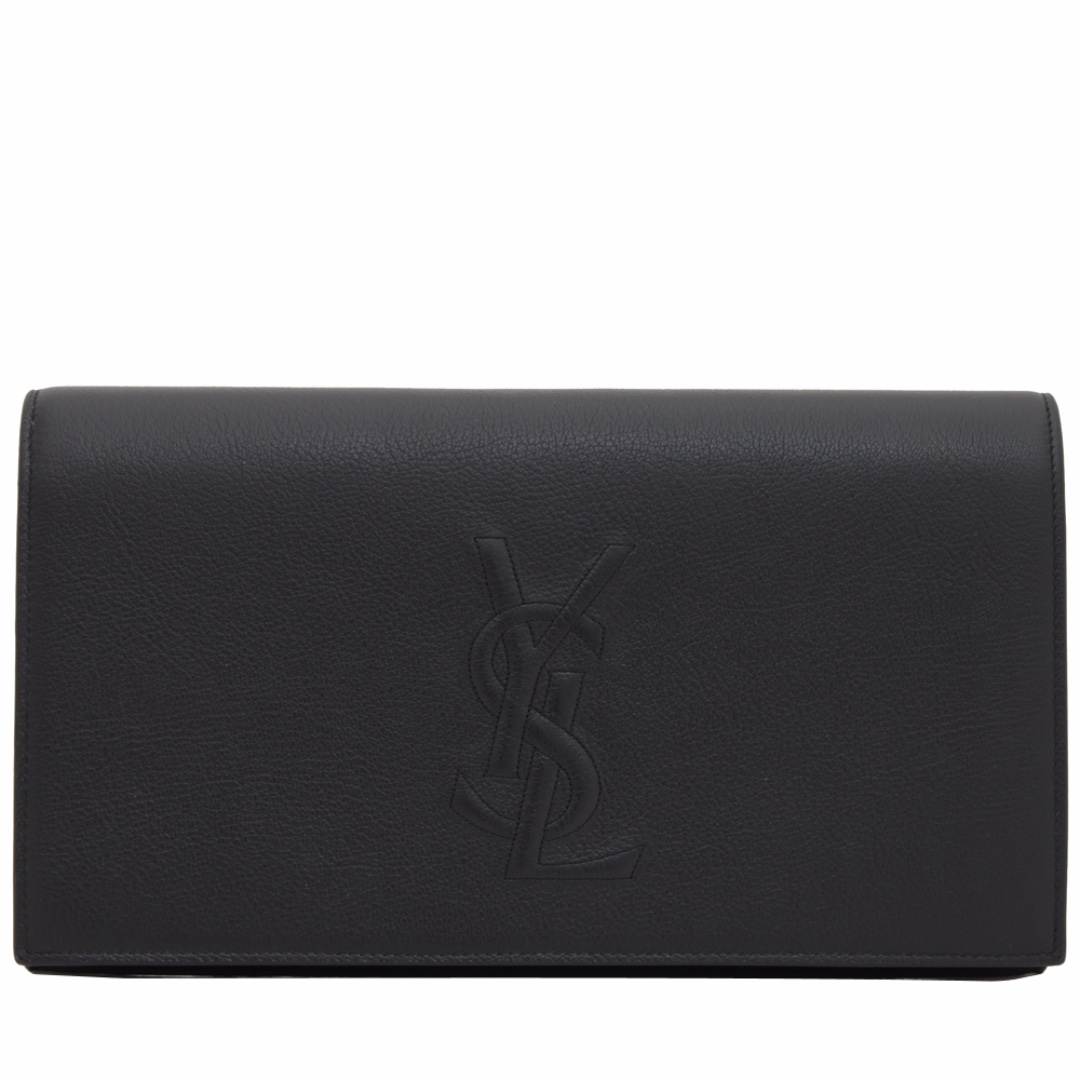 4114c0d9769 Saint Laurent 361120 Belle De Jour Large Leather Clutch Bag- Black ...