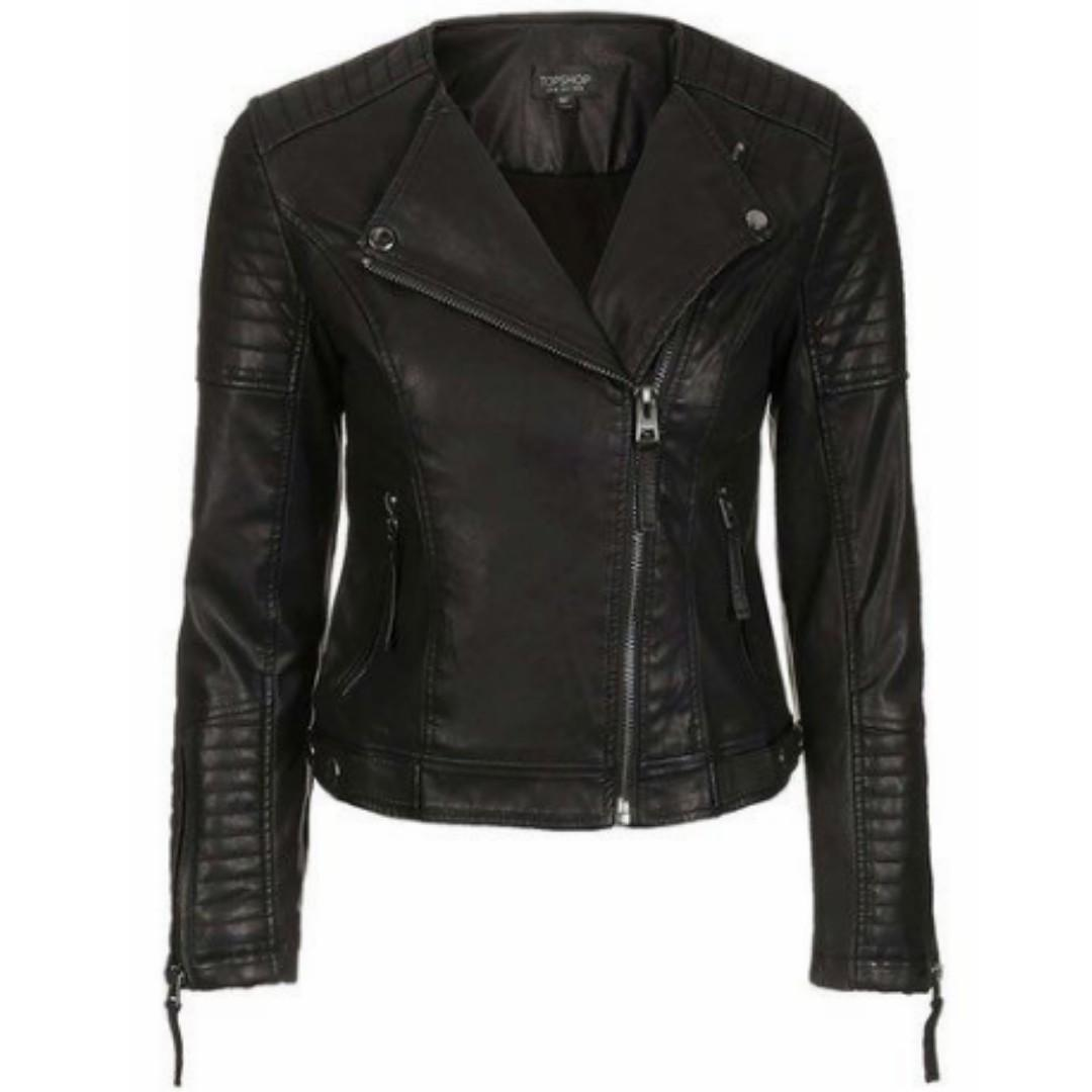 TOPSHOP Collarless Faux Leather Jacket