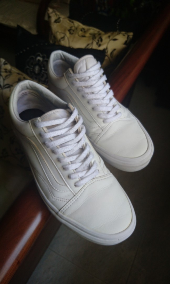 fc3f873e27 Vans Old Skool Leather White US 9.5