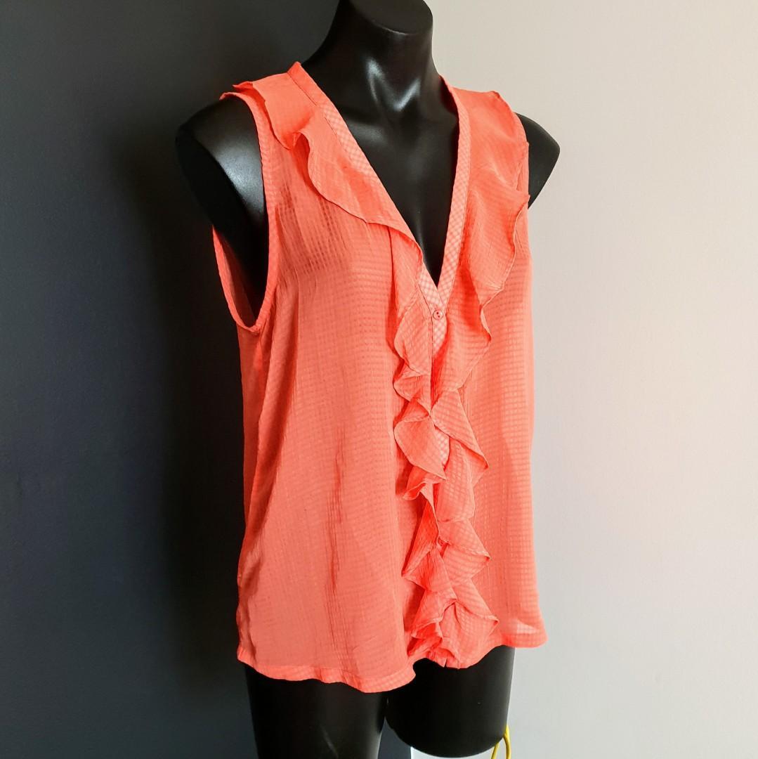 Women's size 10 'SHEIKE' Gorgeous orange semi sheer ruffle top - AS NEW