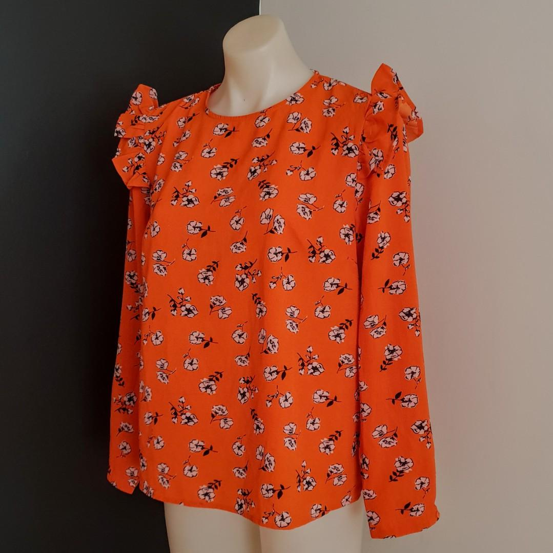 Women's size 14 'ALLY' Stunning orange floral print long sleeved blouse - AS NEW