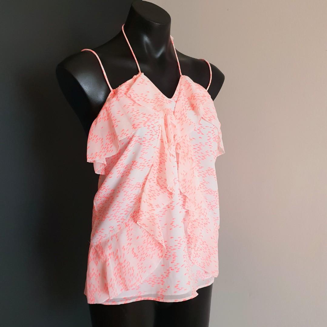 Women's size 8 'SHEIKE' Gorgeous pink fish print top - AS NEW