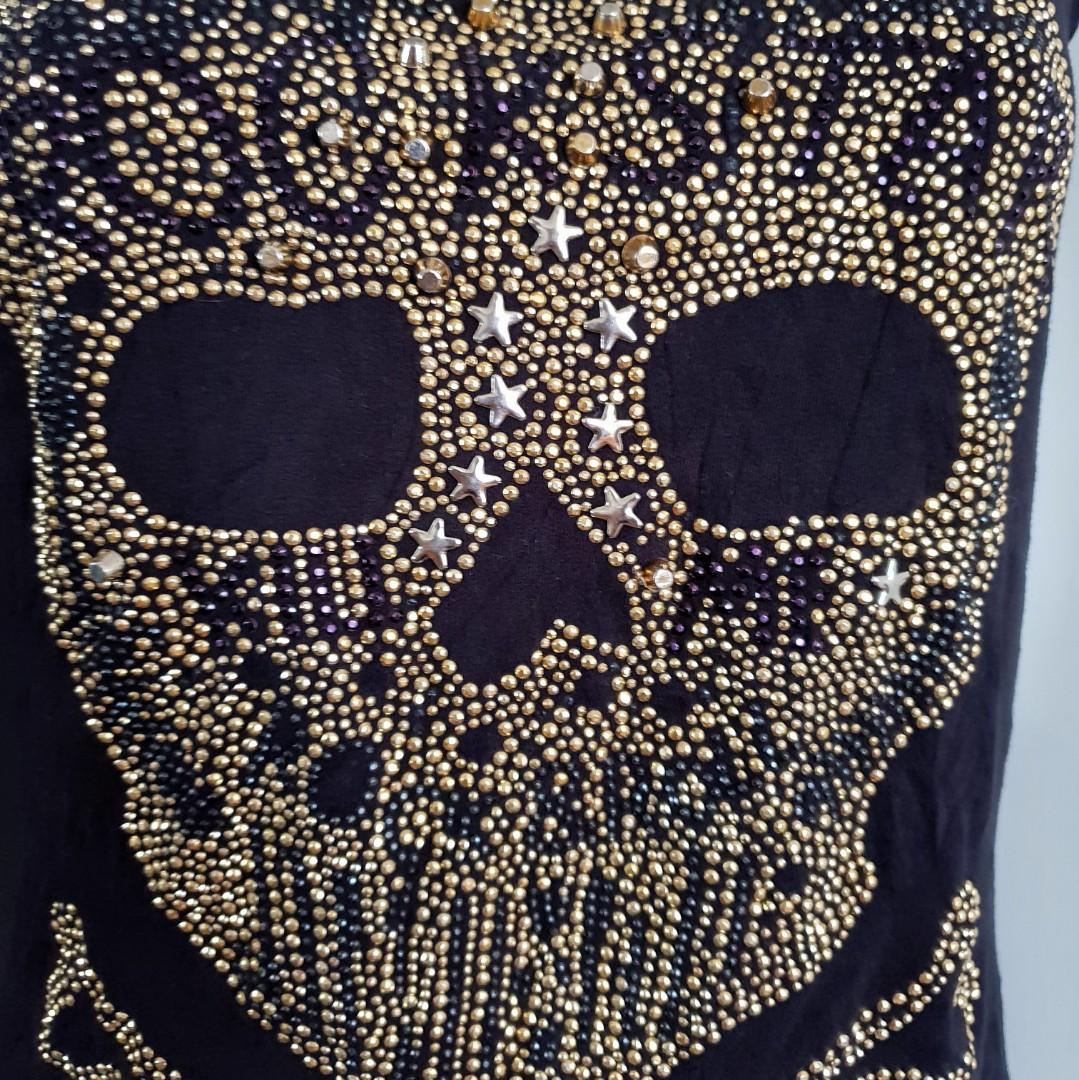 Women's size XL 'PHILIPP PLEIN' Gorgeous designer rockstar top with gold studs