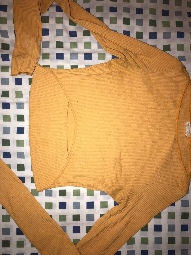 ZARA mustard yellow crop top