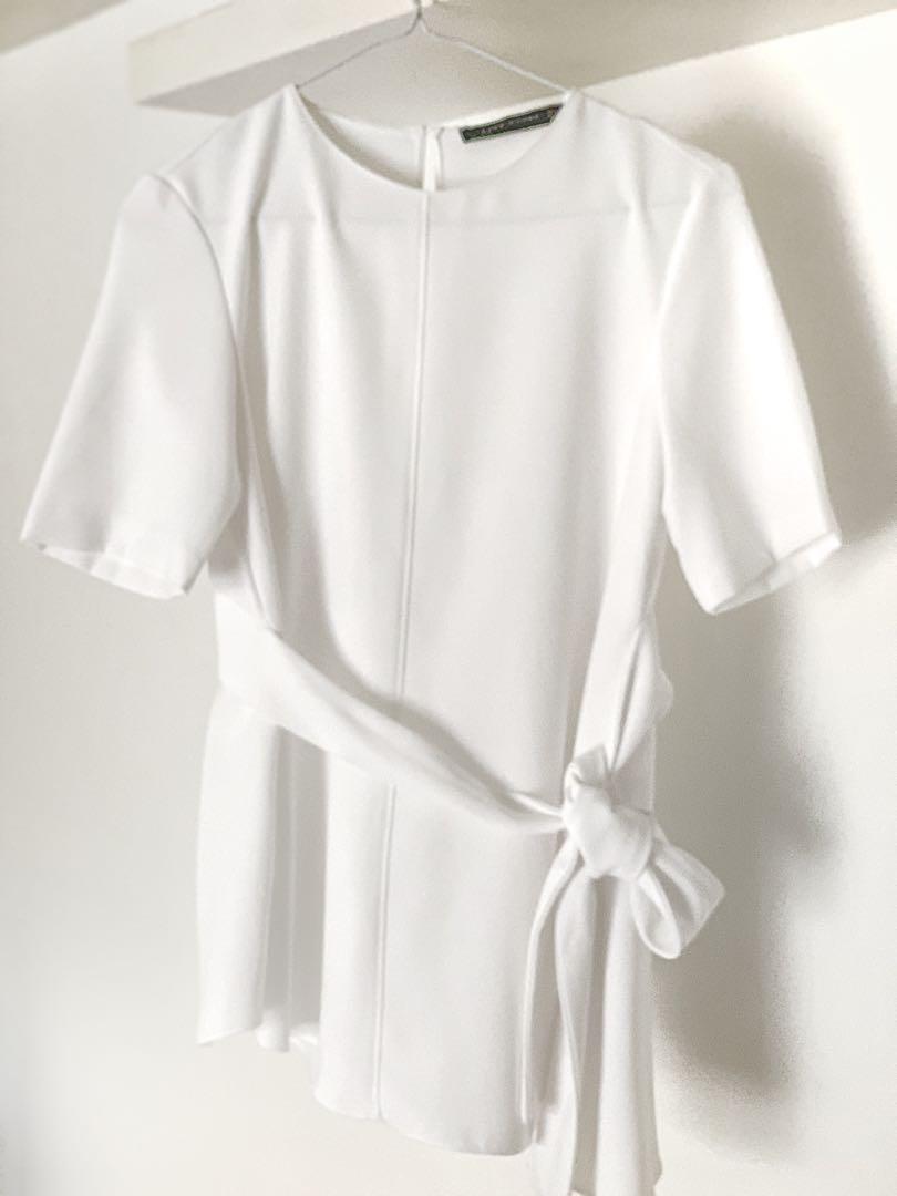 1df2c9644bf973 ZARA white asymmetrical top with waist tie, Women's Fashion, Clothes ...