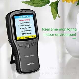 2573. IGERESS Indoor Air Quality Monitor Formaldehyde(HCHO) Detector PM2.5/PM10/TVOC Tester Accurate Testing with Time Display for Home Car Outdoor Air Pollution Detection