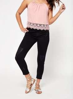 Miss selfridge petite lizzie busted hem jeans