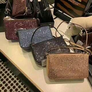 TOP HANDLE POUCH WITH STAR GLITTER (COACH F39656)