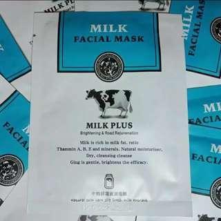 Milk facial mask beli 10 pcs (free1pcs)