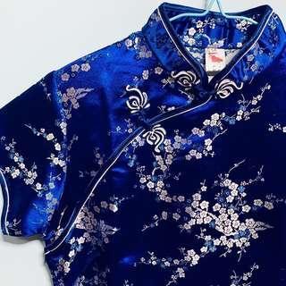 🚚 Navy Blue Floral Qipao / Cheongsam