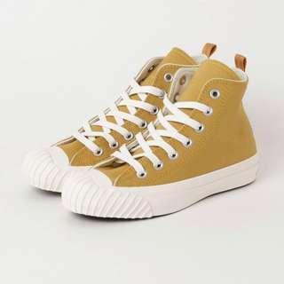 🚚 日本限定converse. 高筒芥黃色帆布鞋。9號 27.5 9.5成新。幾乎全新