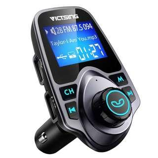 """2424. VicTsing Bluetooth FM Transmitter for Car, Wireless Bluetooth Radio Transmitter Adapter with Hand-Free Calling and 1.44"""" LCD Display, Music Player Support TF Card USB Flash Drive AUX Input/Output"""