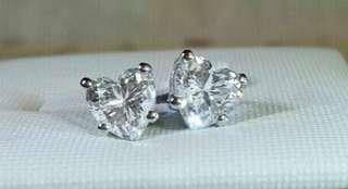 極閃 925純銀+電鍍 八心八箭仿鑽鋯石 心心形耳環