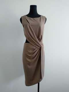 Brown beige cut out twisted dress AU 10