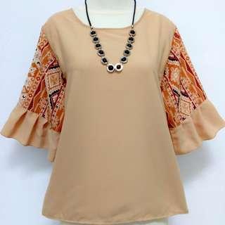 batik combination-krem pastel