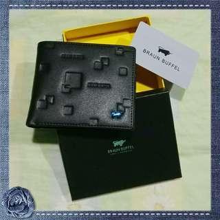 "(Stock 20Apr-2) Braun Buffel ""blue cow"" authentic black leather bifold tri-flaps men's wallet"