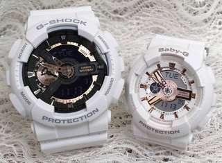 🚚 COUPLE💝 PAIR🌹SET in BABYG GSHOCK : 1-YEAR OFFICIAL WARRANTY in 100% ORIGINAL AUTHENTIC BABY-G-SHOCK RESISTANT: Best Gift For Most Rough Users: GA-110RG-7A + BA-110RG-7A / GA110RG-7A / BA110RG-7A / GSHOCK / BABYG / WATCH
