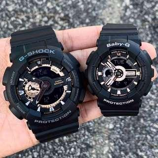🚚 COUPLE💝 PAIR🌹SET in BABYG GSHOCK : 1-YEAR OFFICIAL WARRANTY in 100% ORIGINAL AUTHENTIC BABY-G-SHOCK RESISTANT: Best Gift For Most Rough Users: GA-110RG-1A & RG-1A / GA110RG-1A / BA110RG-1A / GSHOCK / BABYG / WATCH