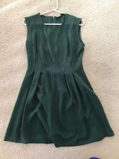 Pleated sleeveless forest green dress
