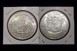 25th anniversary of bataan day one pesos silver coin