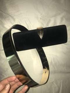 Black bag clutch and gold belt combo