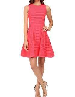 Ted baker hot bright neon pink knitted woven dress