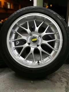 bbs lm 15 inch sports rim axia tyre 70%