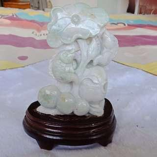 Jade Carving: Carp and Lotus Figurine