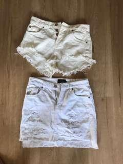 White skirt and shorts $5 each