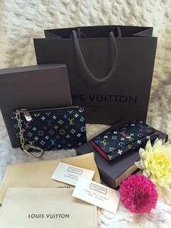Authentic LV cles and key holder multi colored