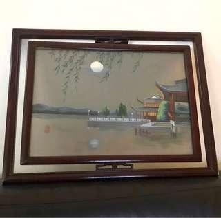 Silk embroidery in rosewood glass frame