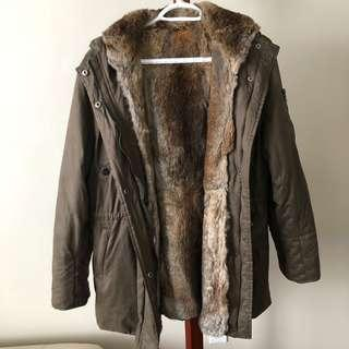 Women's Winter Parka With Removable Rabbit Fur Lining Size XL