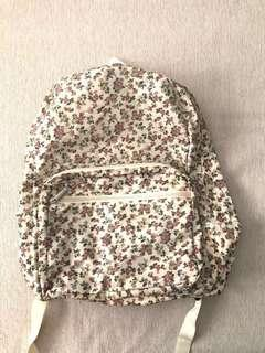 🚚 Floral cream coloured waterproof backpack