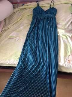 blue and black striped long dress