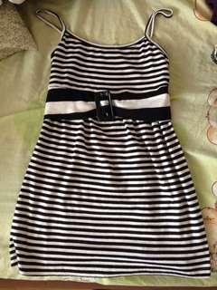 black and white striped minidress