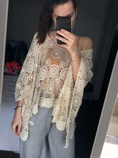 Crochet batwing top
