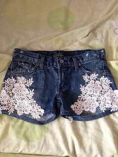 JamesJeans USA limited edition denim lace shorts