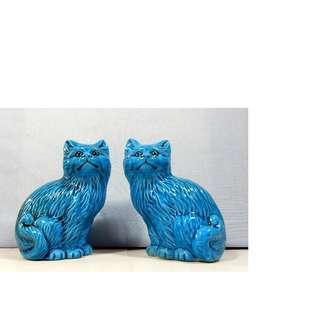 Vintage turquoise porcelain cats one pair retired circa mid 20 Century unused