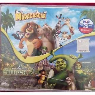 Original VCD 2 - in - Madagascar 1 and Shrek 2 (cartoon)