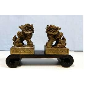 Vintage bronze miniature kylin wood stand retired circa early 1900s