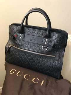 Gucci Black Signature Leather Business Briefcase
