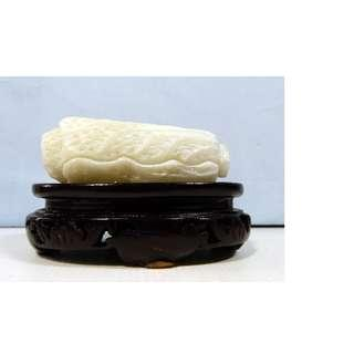 Hand carved Shoushan stone cabbage on display wood stand