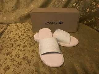 Authentic lacoste white slides