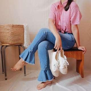 Zara Peplum Denim Jeans