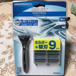 🚚 舒適創4紀鈦刮鬍刀組1刀架9刀頭
