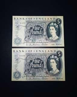 🇬🇧 1963 Great Britain~Bank Of England 5 Pounds Banknote~2pcs Consecutive Number Pair