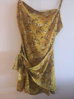 Daisy print mustard yellow dress