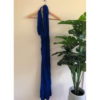 Multi-tie maxi Dress (cobalt blue)