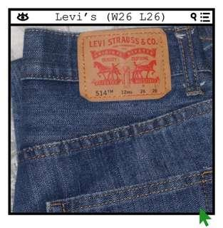 *Perfect Condition* Levi's 514 Straight Jeans Women Size W26 L26