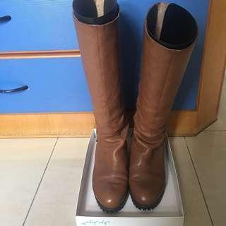Jipi Japa 啡色真皮長boot長靴Leather Boots(37號)